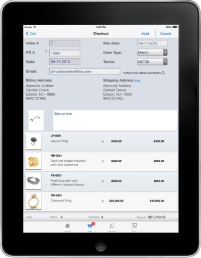 Simplified Checkout on Jewelry iPad app
