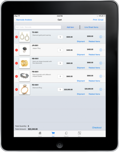Shopping Cart on iPad app